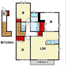 福岡県筑紫野市大字常松の賃貸アパートの間取り