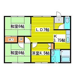 北海道札幌市東区北二十三条東23丁目の賃貸アパートの間取り