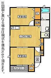 福岡県北九州市八幡西区鷹見台2丁目の賃貸アパートの間取り