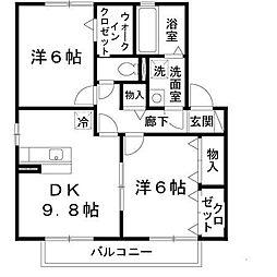 ラ・ミュー久宝寺III[2階]の間取り