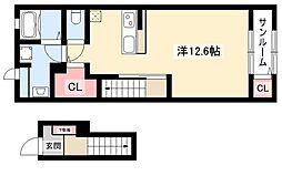 メゾン・ド・モリタIII 2階ワンルームの間取り