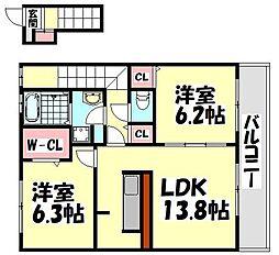 大阪府和泉市伯太町2丁目の賃貸アパートの間取り