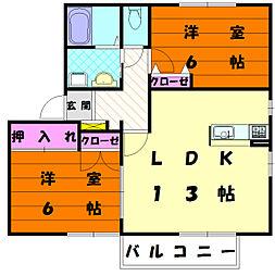 福岡県福岡市東区下原3丁目の賃貸アパートの間取り
