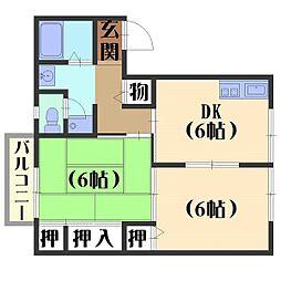 京都府京都市伏見区久我森の宮町の賃貸アパートの間取り