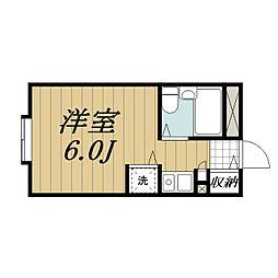 JR成田線 成田駅 徒歩23分の賃貸マンション 4階ワンルームの間取り