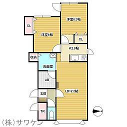 カーサルシア新町A[2階]の間取り