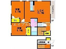 JR宇野線 迫川駅 徒歩7分の賃貸アパート 2階2LDKの間取り