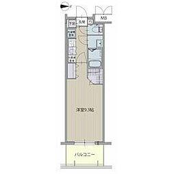 名古屋市営東山線 高畑駅 徒歩3分の賃貸マンション 8階1Kの間取り