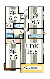 スペリオK-3[1階]の間取り