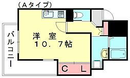 JR篠栗線 篠栗駅 徒歩5分の賃貸マンション 6階ワンルームの間取り