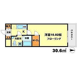 サンレムート江坂1st[3階]の間取り