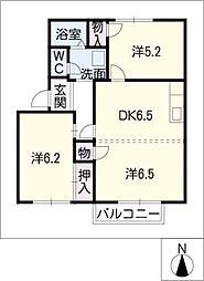 ボヌール平松B棟[1階]の間取り
