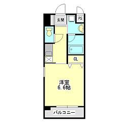 キセラコートWAKO 5階1Kの間取り
