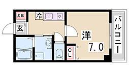 アカラ藤原台 3階1Kの間取り
