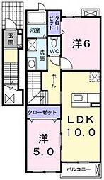 東京都町田市下小山田町の賃貸アパートの間取り