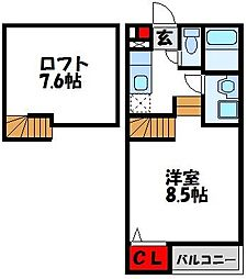 JR鹿児島本線 東郷駅 徒歩27分の賃貸アパート 1階1Kの間取り