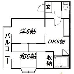 静岡県浜松市東区材木町の賃貸アパートの間取り