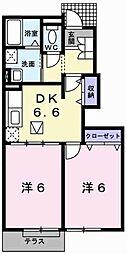 兵庫県相生市緑ケ丘2の賃貸アパートの間取り