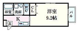 felice(フェリーチェ)牛田東 1階1Kの間取り