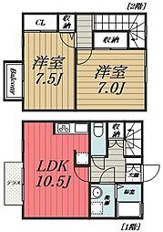 [タウンハウス] 千葉県四街道市もねの里3丁目 の賃貸【/】の間取り