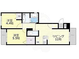 南海高野線 堺東駅 徒歩9分の賃貸マンション 4階2LDKの間取り