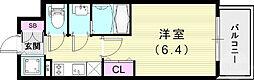 エスリード神戸兵庫駅アクアヴィラ 2階1Kの間取り