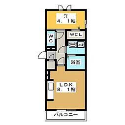 D-roomビーチルック 2階1LDKの間取り