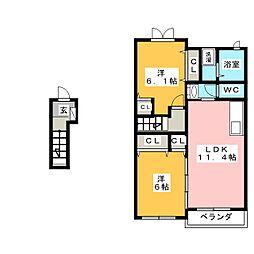 サンヒルズTAKANE[2階]の間取り