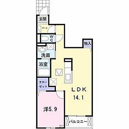 JR南武線 西府駅 徒歩18分の賃貸アパート 1階1LDKの間取り
