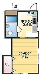 東京都世田谷区給田1丁目の賃貸アパートの間取り