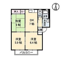 ブロッサム井口[1階]の間取り