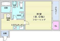 カハラ五輪 3階1Kの間取り