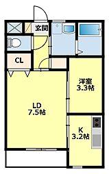 愛知県豊田市森町8丁目の賃貸アパートの間取り