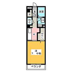 リヴェール湘南 1階1Kの間取り