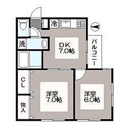 東京都江戸川区中葛西8丁目の賃貸アパートの間取り