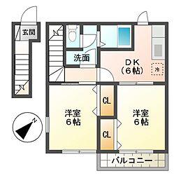 ハッピーハイツ4[2階]の間取り
