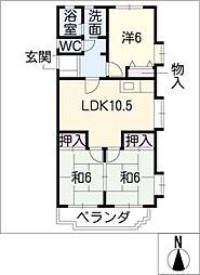 ロイヤルサンコーB棟[1階]の間取り