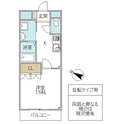 Arcadia TSUKUBA 1階1Kの間取り