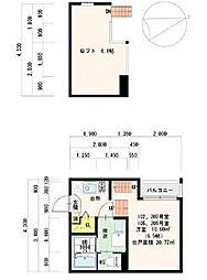 愛知県名古屋市東区矢田町の賃貸アパートの間取り