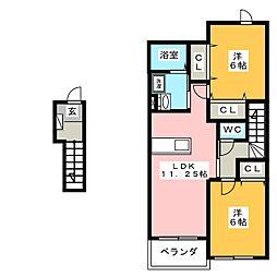 エアリーヴィラB[2階]の間取り