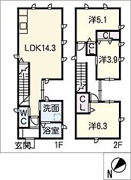 [一戸建] 愛知県名古屋市中川区澄池町 の賃貸【/】の間取り
