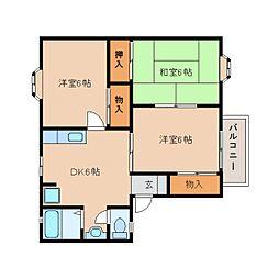 近鉄天理線 前栽駅 徒歩19分の賃貸アパート 2階3DKの間取り