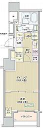 都営大江戸線 汐留駅 徒歩7分の賃貸マンション 11階1DKの間取り