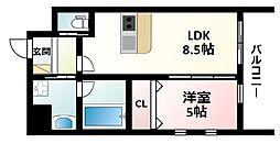 Osaka Metro御堂筋線 江坂駅 徒歩12分の賃貸マンション 9階1LDKの間取り