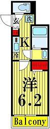 東武伊勢崎線 東向島駅 徒歩8分の賃貸アパート 3階1Kの間取り