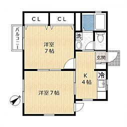 カネミツアパート[2階]の間取り