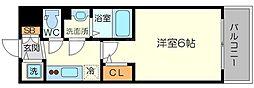 エスリード新大阪グランゲートノース 6階1Kの間取り