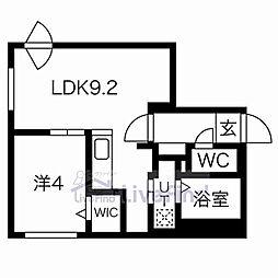 札幌市営東西線 菊水駅 徒歩8分の賃貸マンション 2階1LDKの間取り