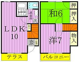 [テラスハウス] 千葉県松戸市栄町6丁目 の賃貸【千葉県 / 松戸市】の間取り