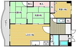 シャルマンハイツ住之江[704号室]の間取り